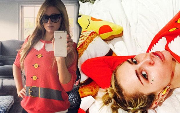 Miley & Paris: Gleicher Weihnachtspulli