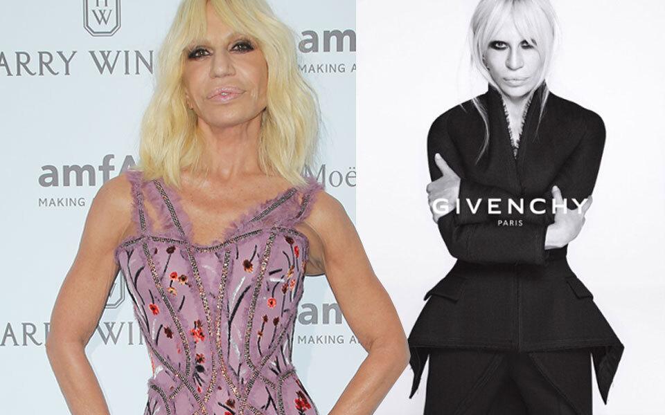 Donatella Versace posiert für Givenchy