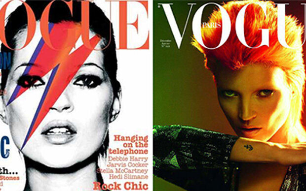 Kate Moss posiert als David Bowie-Double
