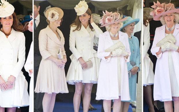 Drei Herzoginnen strahlen in Eis-Rosa