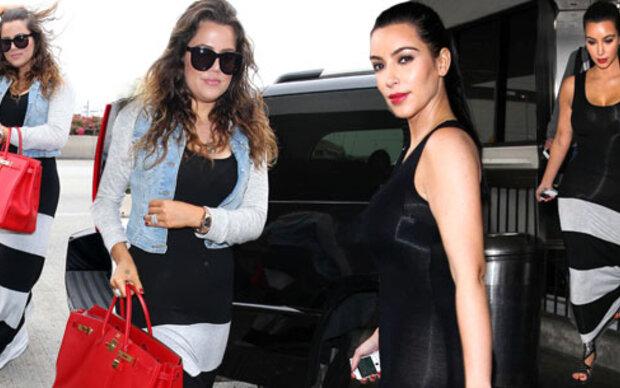 Kim & Khloe im gleichen Kleid
