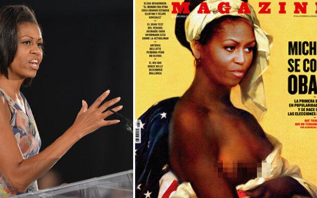Michelle Obama als nackte Sklavin auf Magazin