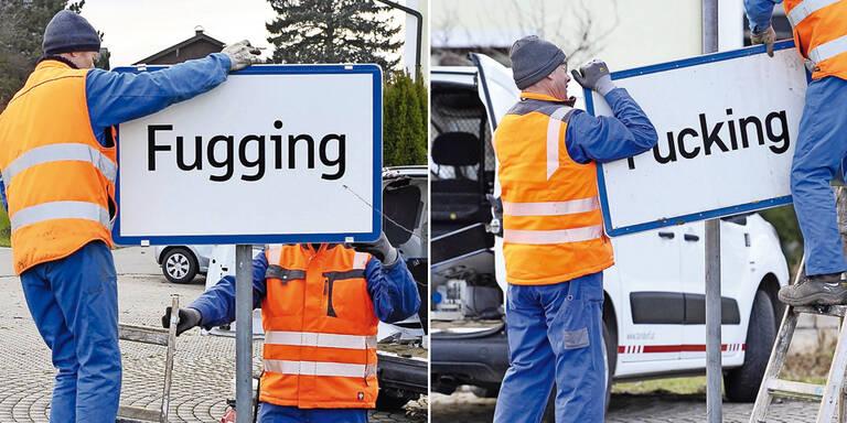 """Neues Schild: Schluss mit """"Fucking"""""""