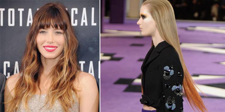 Jessica Biel mit Prada inspirierten Haaren