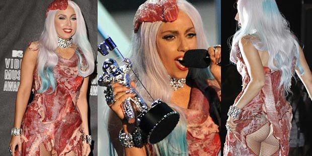 Lady Gaga schockt in Fleischkleid
