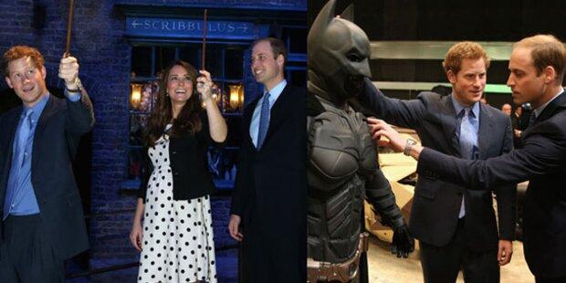 Kate, William und Harry im Potter-Fieber