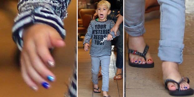 Gwen Stefani lackiert ihrem Sohn die Nägel