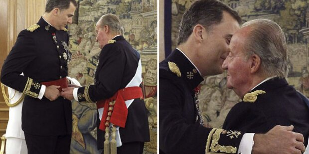 Juan Carlos übergab Schärpe an König Felipe