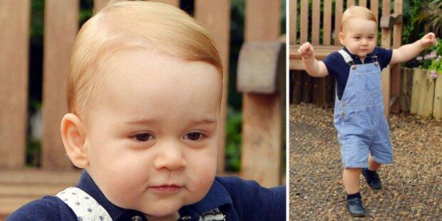 Baby George hat den Laufdreh raus