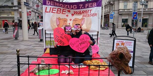 Tierschützer protestieren wie John Lennon