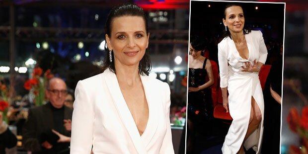 Berlinale: Juliette Binoche kämpft mit Kleid