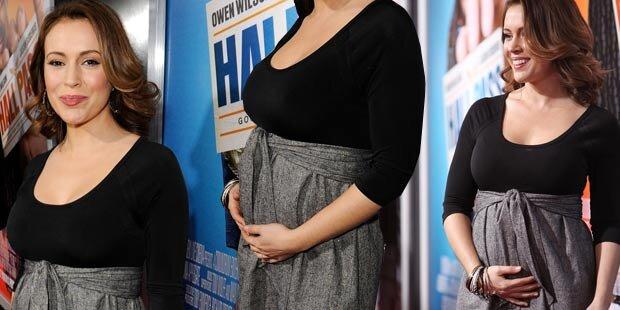 Alyssa Milano zeigt ihren Babybauch
