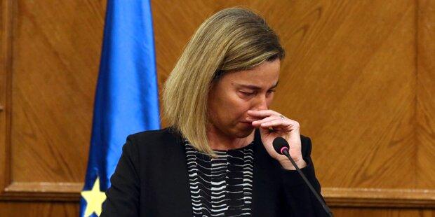 Mogherini mit Tränen in den Augen