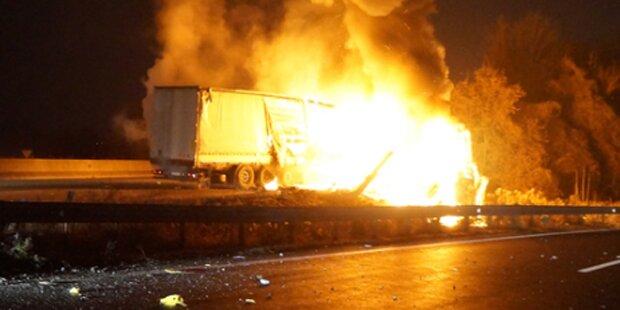 Lkw-Brand auf A1 endet im Flammen-Inferno