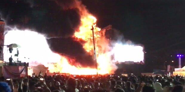 Feuer-Inferno auf Bühne: Musik-Festival abgesagt
