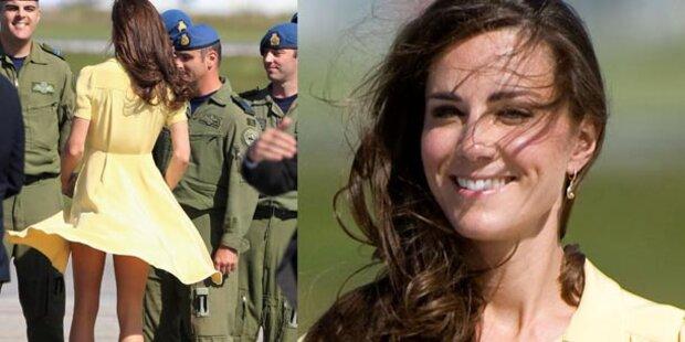 Herzogin Kate: Kampf gegen den Wind - Kleid verweht FOTOS