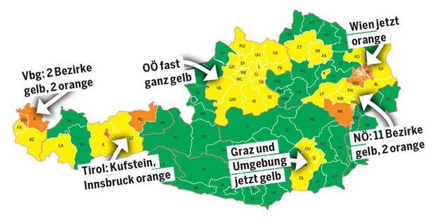 Das bedeutet Orange für Bezirke