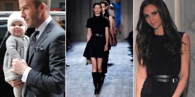 David Beckham mit Harper bei Fashion Show