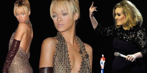 Rihanna zeigt Haut, Adele den Stinkefinger