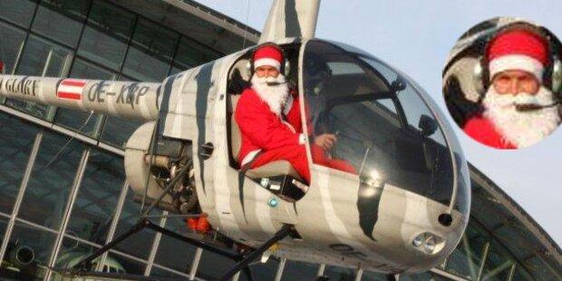 Hier kommt Santa Felix mit dem Helikopter