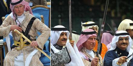 Schwerttanz: Prinz Charles in Saudi-Arabien
