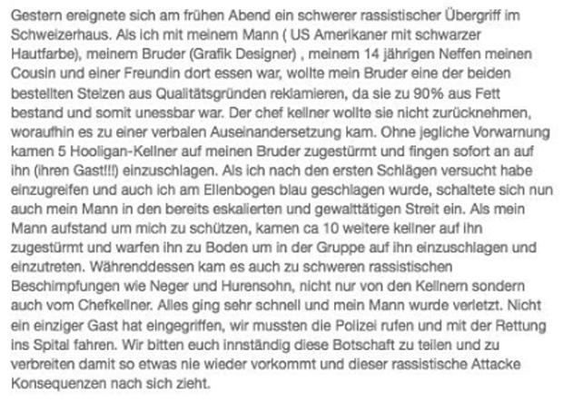 Schweizerhaus Rassismus-Eklat