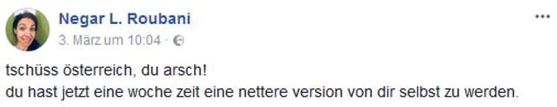 Negar Roubani Facebook-Posting