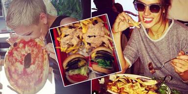 Posieren mit Fast Food für den guten Ruf
