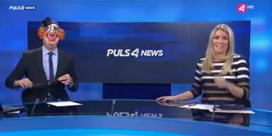 Puls 4-Moderator schockt mit Killer-Clown-Maske
