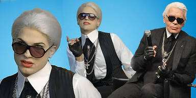 Ashton Kutcher macht auf Karl Lagerfeld