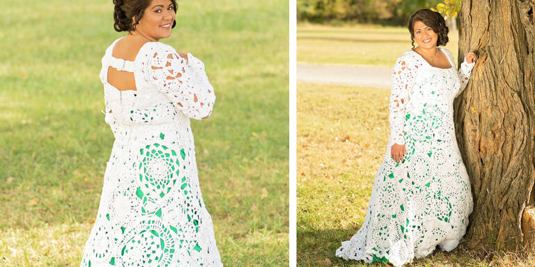 Braut häkelte sich ein Hochzeitskleid