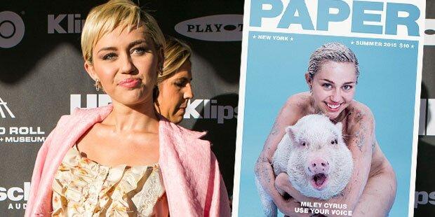 Miley Cyrus posiert nackt mit Schwein