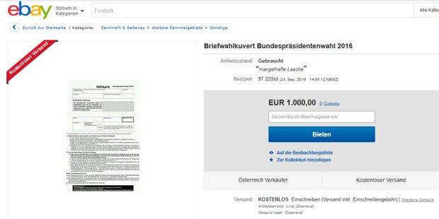 Pannen-Wahlkarte wird Versteigerungshit auf Ebay