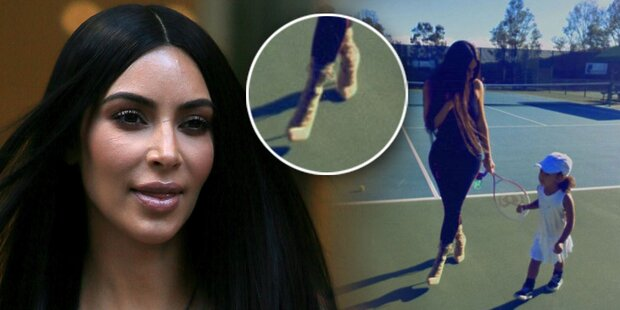 Kim: In Killer-Heels zum Tennis