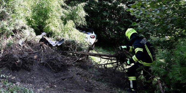 Autolenker stürzte über Böschung: tot
