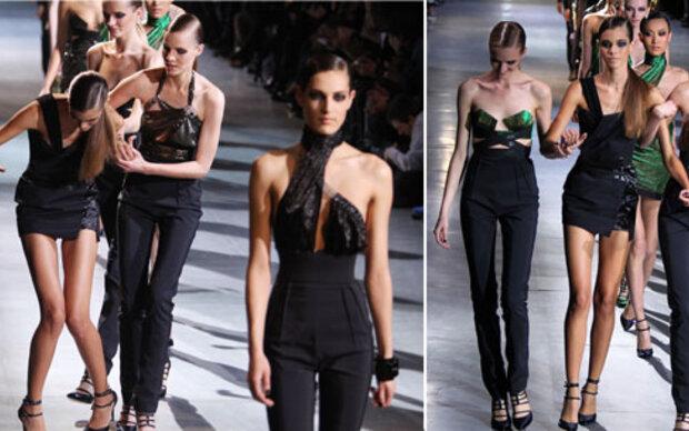Model stolpert am 1. Tag der Fashion Week