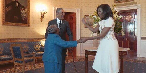 Hier shaked eine 106-jährige Oma mit Obama