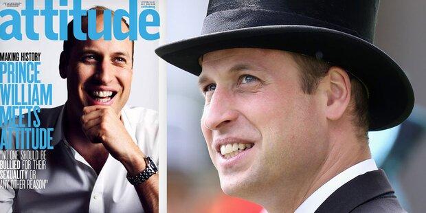 William auf Cover von Schwulenmagazin