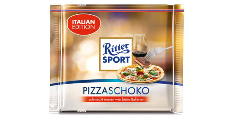 Ritter Sport kontert Schoko-Pizza mit Pizzaschokolade