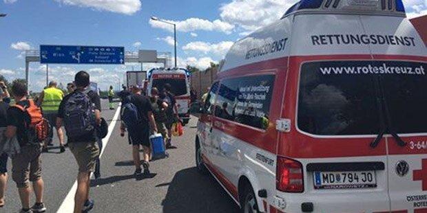 Stau-Chaos auf A21: Reisebus kollidiert mit Lkw