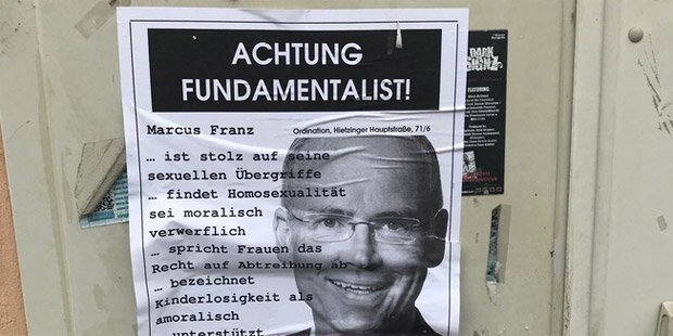 Hetz-Plakate gegen Marcus Franz angebracht