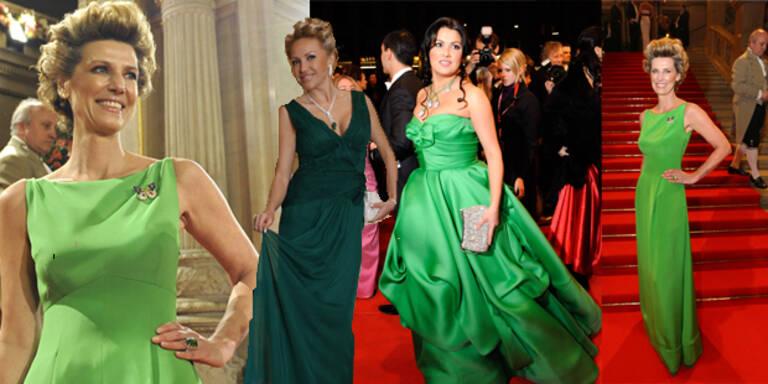 Opernball-Ladies setzen auf Trendfarbe Grün