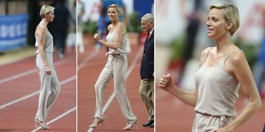 Charlene von Monaco: Mit High Heels am Start