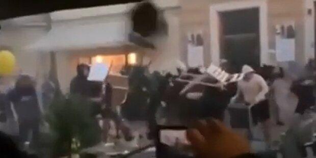 Straßenschlachten: Fußball-Hooligans zerlegen Bratislava
