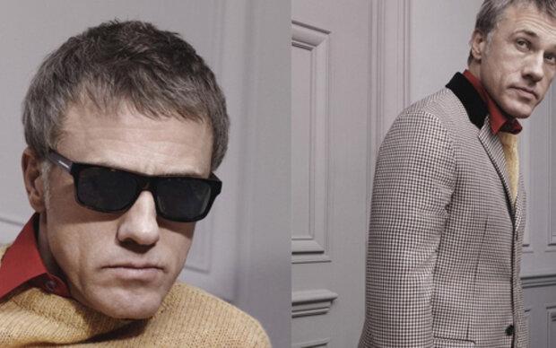 Christoph Waltz modelt für Prada