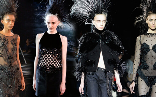 Louis Vuittons schwarze Schau