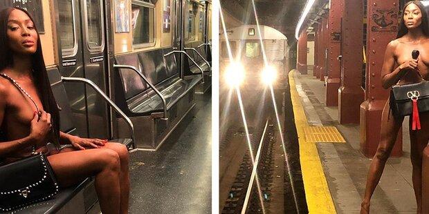 Naomi Campbell splitterfasernackt in U-Bahn in New York