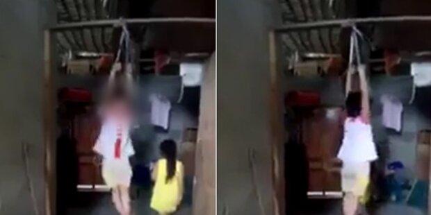 Mädchen (5) gefesselt an Dachbalken gehängt