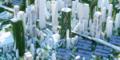 Solarpanels, viel grün, Hochhäuser