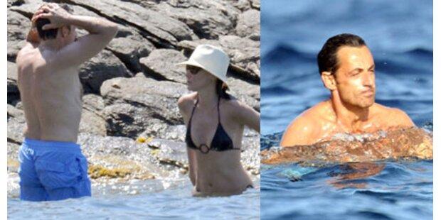 Sarkozy planscht und turtelt mit Carla